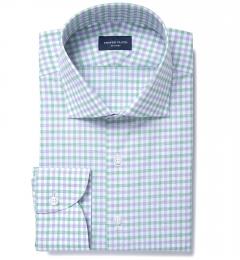 Thomas Mason Green and Lavender Multi Check Custom Made Shirt
