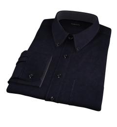 Black Cotton Linen Oxford Men's Dress Shirt
