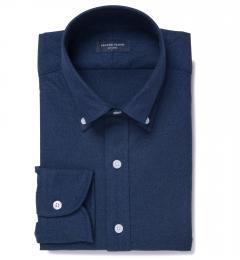 Albini Navy Melange Oxford Fitted Dress Shirt
