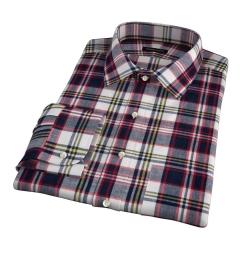 Dorado Navy Plaid Fitted Dress Shirt