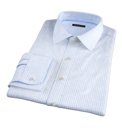 140s Light Blue Wrinkle-Resistant Bengal Stripe Custom Dress Shirt