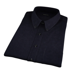 Black Cotton Linen Oxford Short Sleeve Shirt