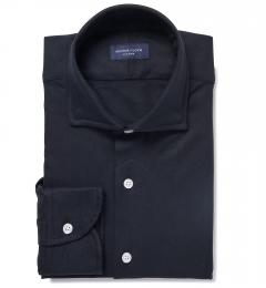 Canclini Black Casual Diamond Jacquard Tailor Made Shirt