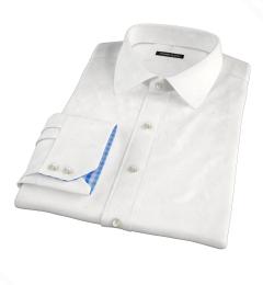White 100s Herringbone Fitted Shirt