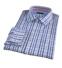 Catskill 100s Blue Multi Check Men's Dress Shirt