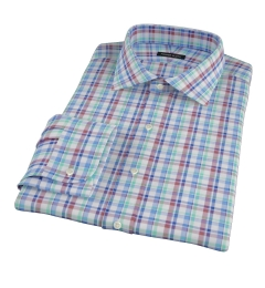 Green Brown Summer Plaid Fitted Dress Shirt