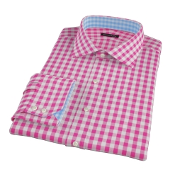 Pink Large Gingham Men's Dress Shirt