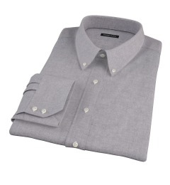Canclini Grey Herringbone Flannel Custom Dress Shirt