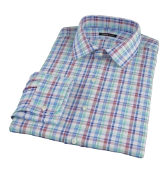 Green Brown Cotton Linen Check Men's Dress Shirt