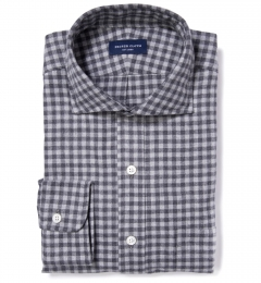 Canclini Grey Gingham Heavy Flannel Fitted Shirt