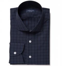 Thompson Navy and Blue Plaid Custom Made Shirt