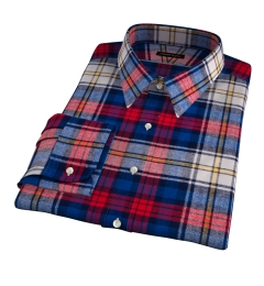 Red and Blue Plaid Country Flannel Men's Dress Shirt