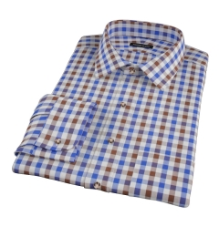 Blue and Brown Large Gingham Custom Made Shirt