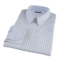 Thomas Mason Dark Blue Grid Custom Made Shirt