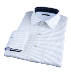 140s Light Blue Wrinkle-Resistant Bengal Stripe Custom Made Shirt