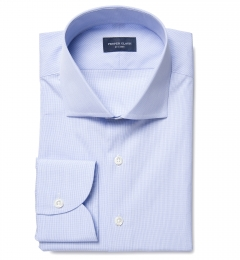 Thomas Mason 120s Blue Mini Grid Fitted Dress Shirt