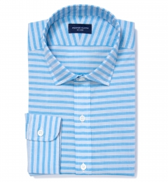 Albini Blue Grey Horizon Stripe Tailor Made Shirt