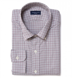 Canclini Red Grey Tattersall Flannel Fitted Dress Shirt