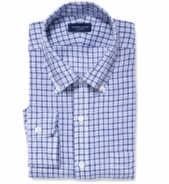 Canclini Navy Blue Check Linen Tailor Made Shirt