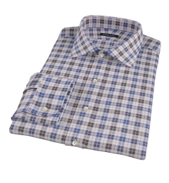Vincent White Navy Red Plaid Men's Dress Shirt