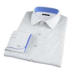 Light Blue 80s Striped Pinpoint Fitted Dress Shirt