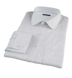 Canclini 120s Sky Blue Large Grid Fitted Shirt