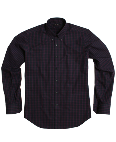 Purple and Navy Large Check Fitted Dress Shirt 