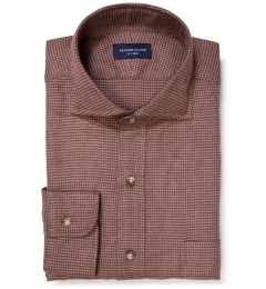 Canclini Brown Houndstooth Flannel Tailor Made Shirt