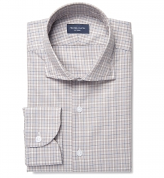 Beige and Blue Plaid Custom Dress Shirt