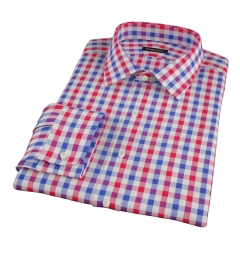 Red and Blue Large Gingham Custom Dress Shirt