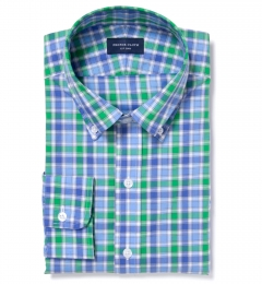 Green Large Multi Check Custom Dress Shirt