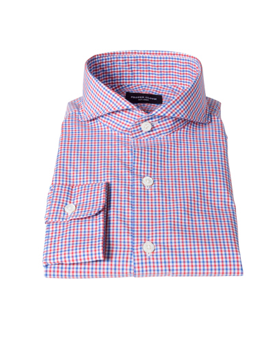 Red and Blue Mini Gingham Dress Shirt