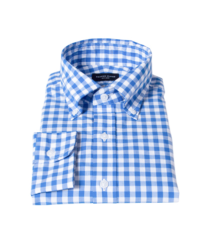 light blue large gingham shirts by proper cloth