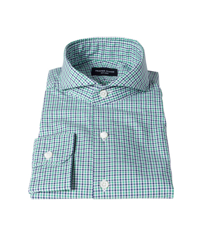 Canclini Green and Blue Multi Gingham Tailor Made Shirt