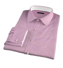 Carmine Crimson Small Grid Fitted Shirt