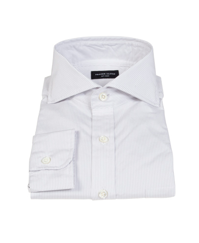 100s Pale Grey Stripe Custom Dress Shirt