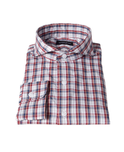 Maroon and Blue Plaid Men's Dress Shirt
