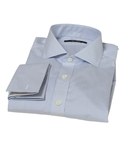 Japanese Light Blue Mini Grid Men's Dress Shirt 