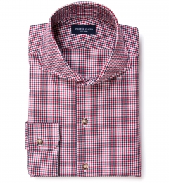 Red Navy Mitchell Check Flannel Dress Shirt