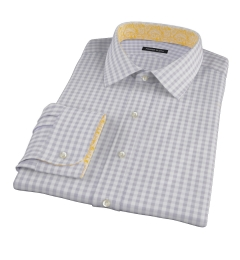 Canclini Grey Gingham Fitted Dress Shirt