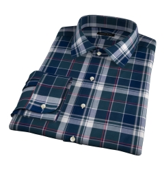 Wythe Green and Navy Plaid Fitted Dress Shirt