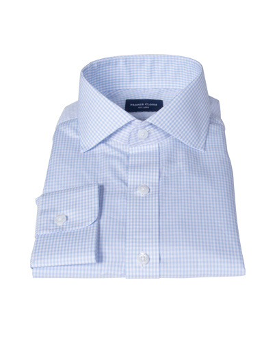 100s Pale Blue Mini Gingham Men's Dress Shirt