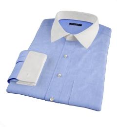 Redondo Sky Blue Linen Fitted Dress Shirt