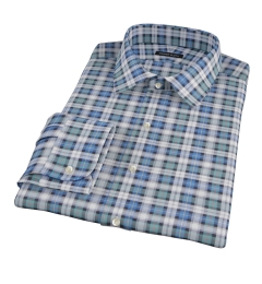 Vincent Green and Blue Plaid Men's Dress Shirt