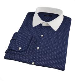 White on Navy Printed Pindot Dress Shirt