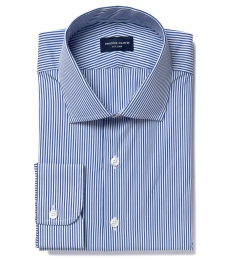 140s Navy Wrinkle-Resistant Stripe Fitted Shirt