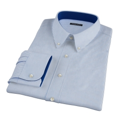 140s Blue Wrinkle-Resistant Stripe Custom Made Shirt