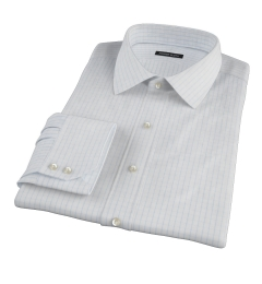 Canclini 120s Sky Blue Large Grid Fitted Dress Shirt