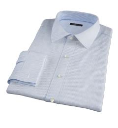 140s Light Blue Wrinkle-Resistant Stripe Custom Dress Shirt