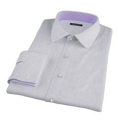 Coffee and Blue Stripe Twill Fitted Dress Shirt